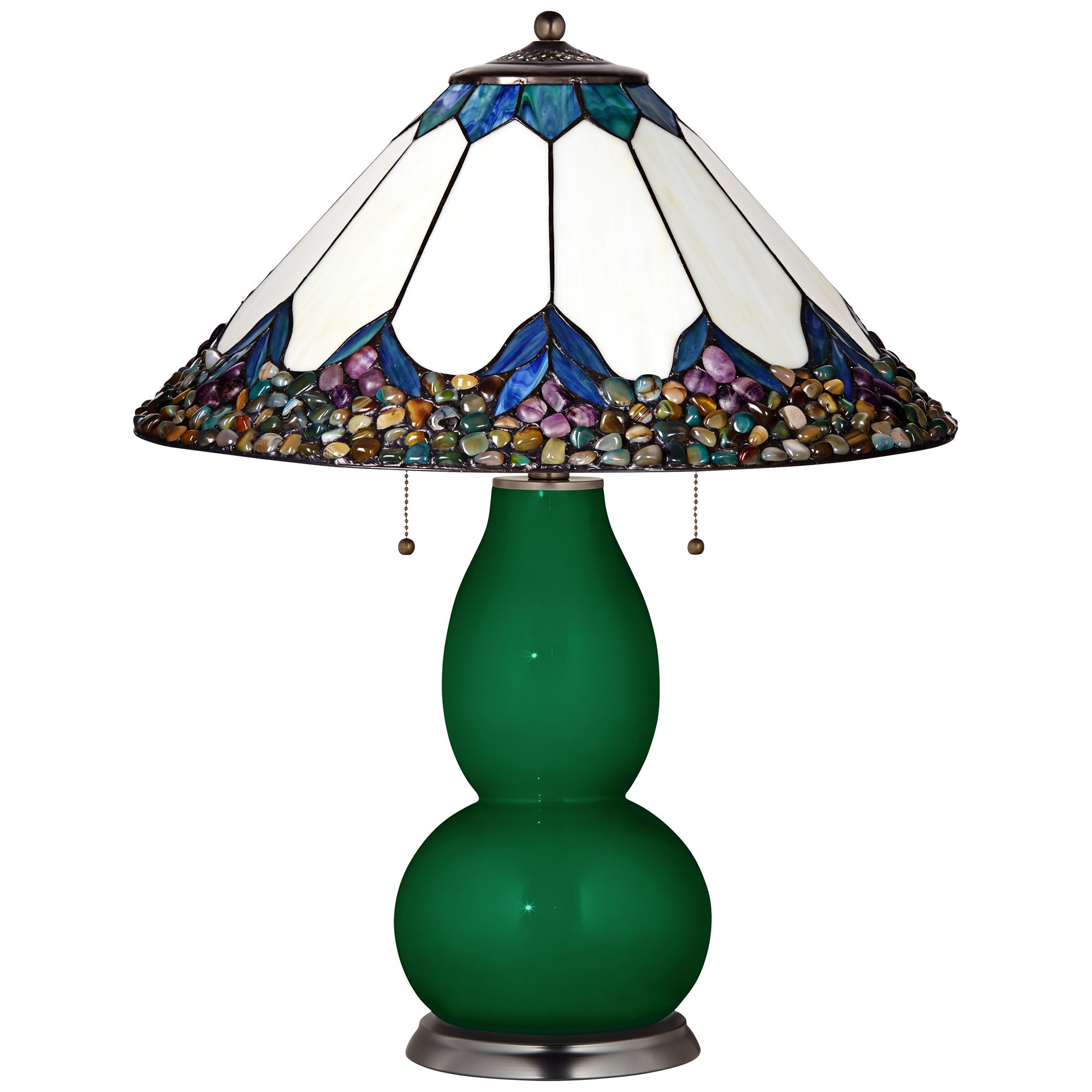 Tiffany Color Plus Fulton Table Lamp In Greens With River Stone Shade