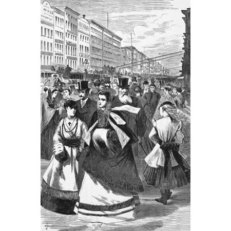 Holiday Shopper - New York Broadway 1868 Nfashionable Shoppers On Broadway Near Houston Street In New York City Wood Engraving 1868 Rolled Canvas Art -  (24 x 36)