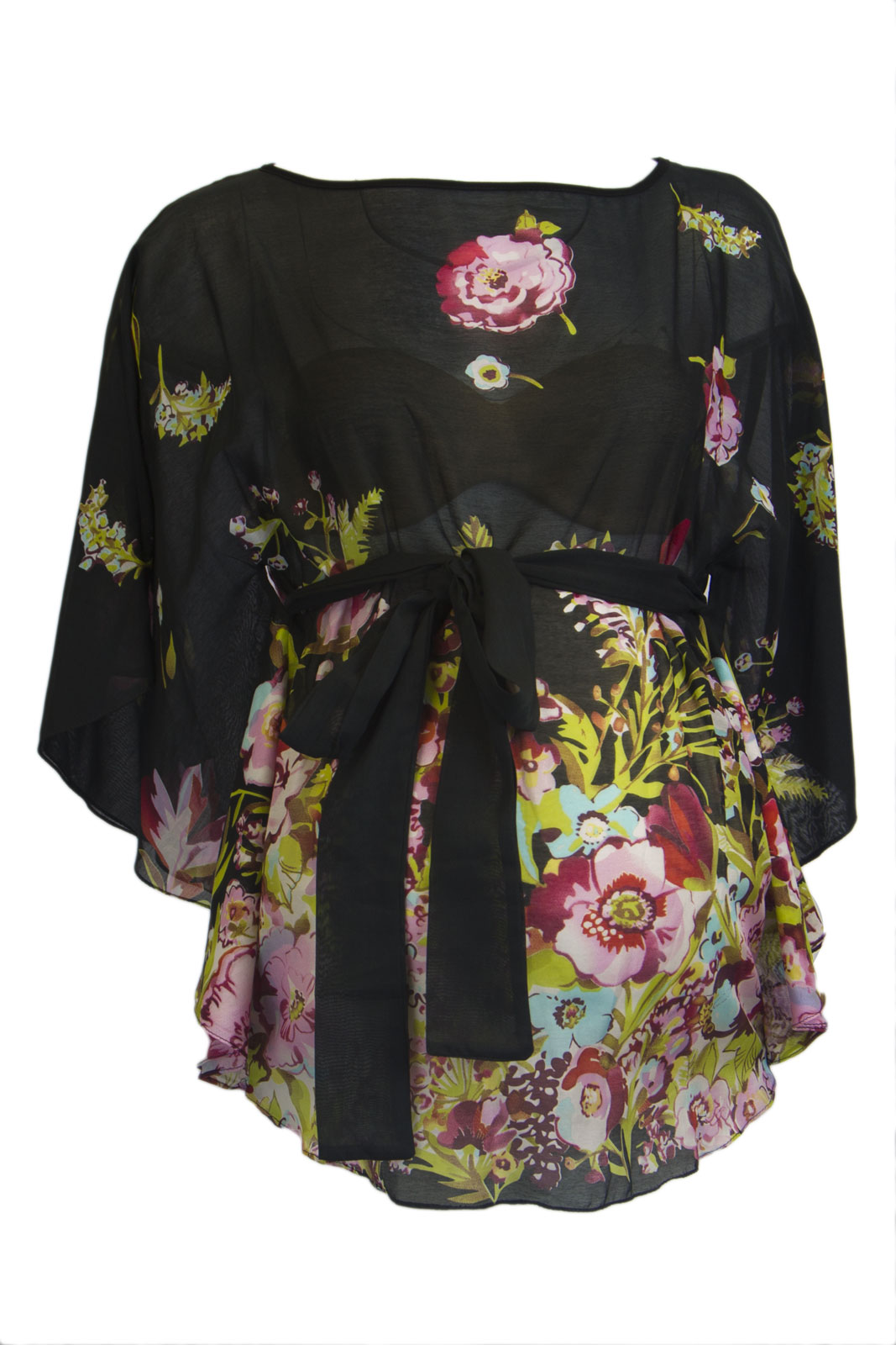 OLIAN Maternity Women's Floral Print Boat Nweck Batwing Top X-Small Black