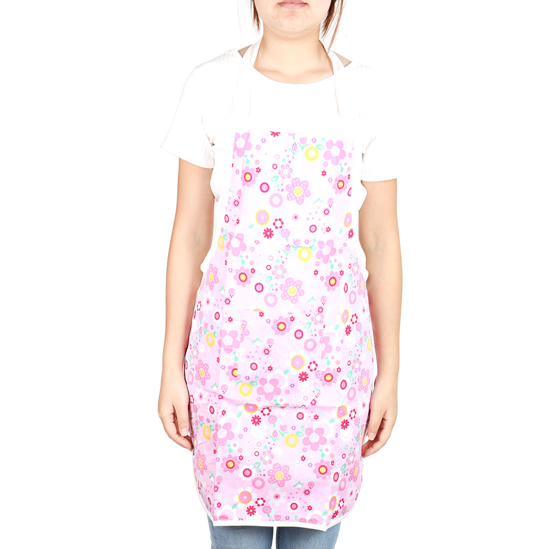 Household Flower Pattern Water Resistant Front Patch Pocket Apron Colorful