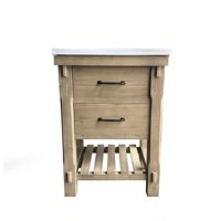 InFurniture WK8224 24 in. Rustic Solid Fir Vanity with Ceramic Single Sink-No Faucet