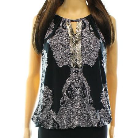 Keyhole Beaded Halter Top - INC NEW Black Womens Size XS Embellished Keyhole Printed Halter Blouse