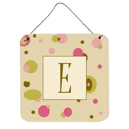 Letter E Initial Monogram - Tan Dots Wall or Door Hanging Prints ()
