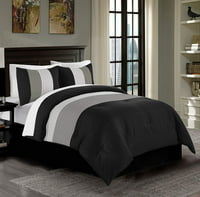 Chezmoi Collection Harper 3-Piece Luxury Pleated Striped Comforter Set