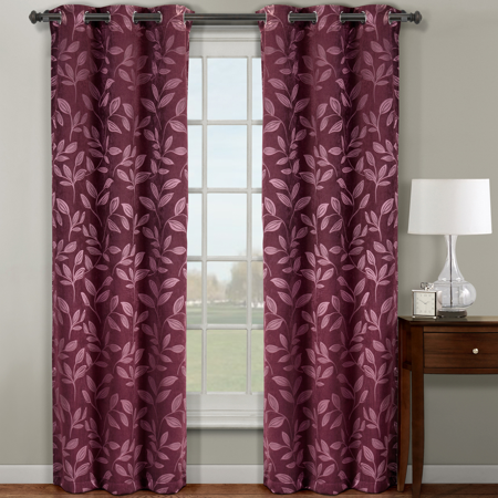 Pair Claire Blackout Curtain Panels 72 Inch wide x 84 Inch Long ( Set of 2 ) - Burgundy