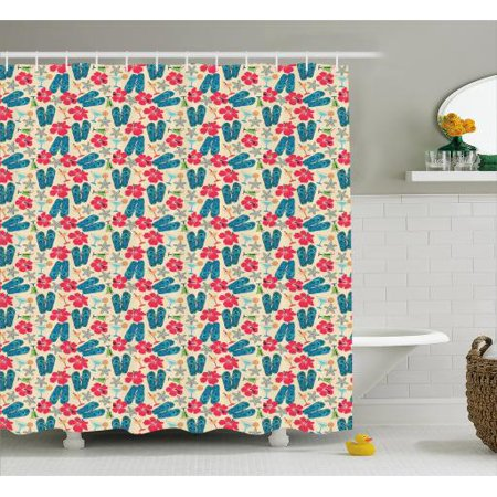 Flip Flop Shower Curtain Exotic Summer Icons Hibiscus Flower Starfishes Martini Cocktail And Beach Sandals Fabric Bathroom Set With Hooks