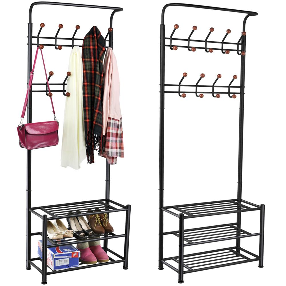 Yaheetech Metal Multi-purpose Clothes Coat Stand, Shoes Rack Umbrella Stand, Entry Storage, Max Load Capicity Up to 176 lbs, Black