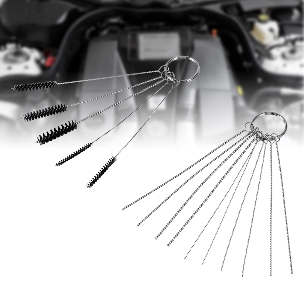 5 Brushes 13 Cleaning Needles Motorcycle Carburetor Carbon Dirt Jet Remove Tool