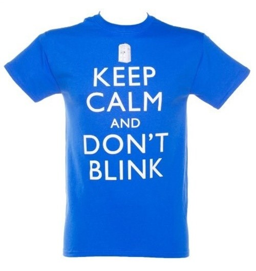 Ripple Junction Men's Doctor Who Keep Calm and Don't Blink T-Shirt, Royal Blue, Large