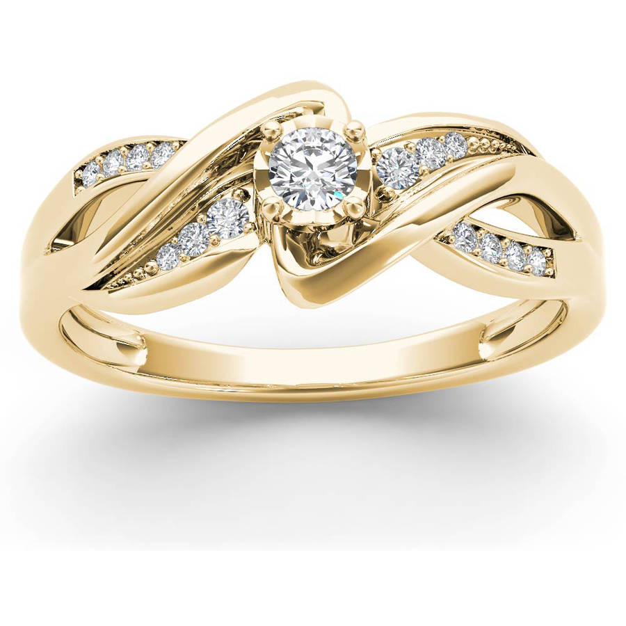 Imperial 1/6 Carat T.W. Diamond Criss-Cross Shank 10kt Yellow Gold Engagement Ring
