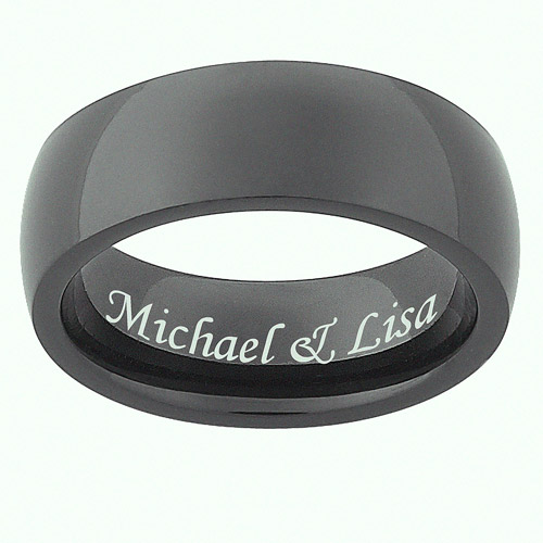 Personalized Men's Black Stainless Steel Engraved 7mm Band