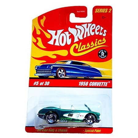 HOT WHEELS 2005 5 of 30 green 1958 CORVETTE CLASSICS SERIES 2 1:64 SCALE DIE-CAST BODY/CHASSIS SPECIAL - 1984 Corvette Wheels