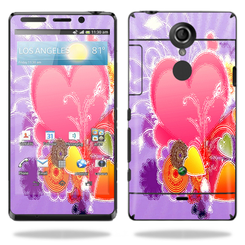 Mightyskins Protective Vinyl Skin Decal Cover for Sony Xperia TL Cell Phone AT&T wrap sticker skins Beaming Heart