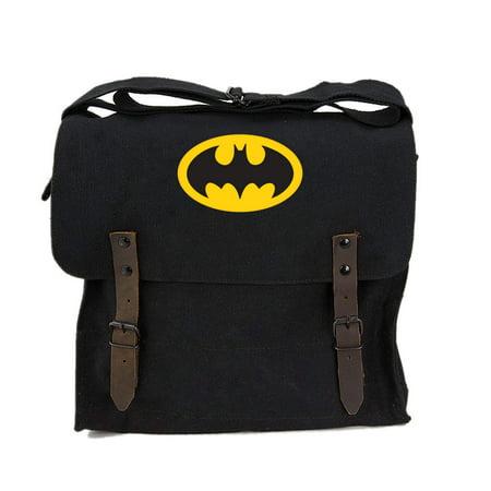 Batman Bat Symbol Army Heavyweight Canvas Medic Shoulder Bag in Black & Yellow](Batman Bag)