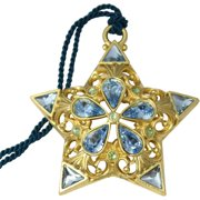 Gloria Duchin Filigree Gold Star with Blue Crystals Christmas Ornament