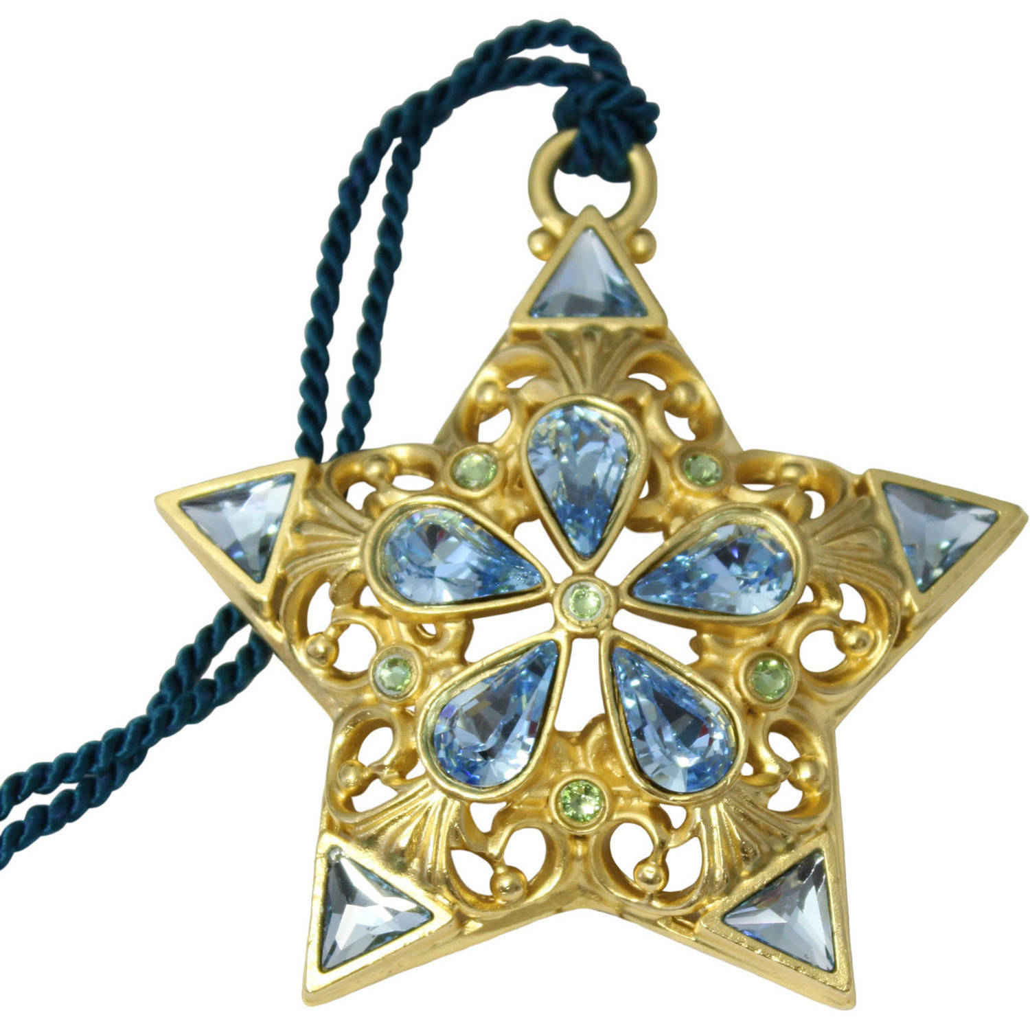 Gloria Duchin Filigree Gold Star with Blue Crystals Christmas Ornament