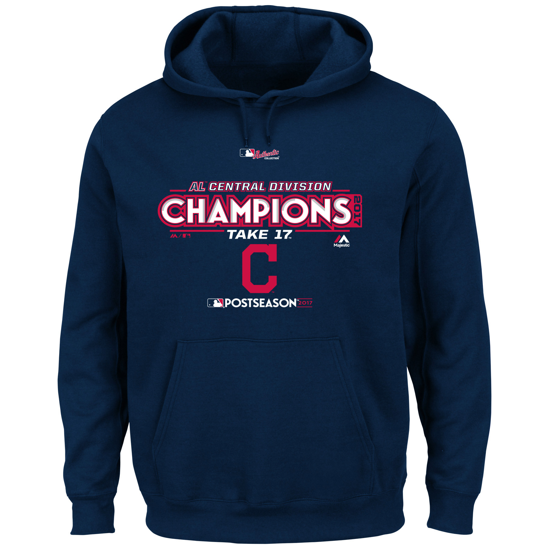 Cleveland Indians Majestic 2017 AL Central Division Champions Locker Room Pullover Hoodie - Navy
