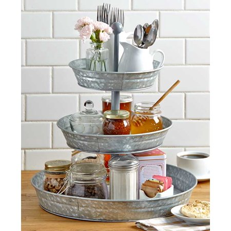 3-Tier Galvanized Metal Serving