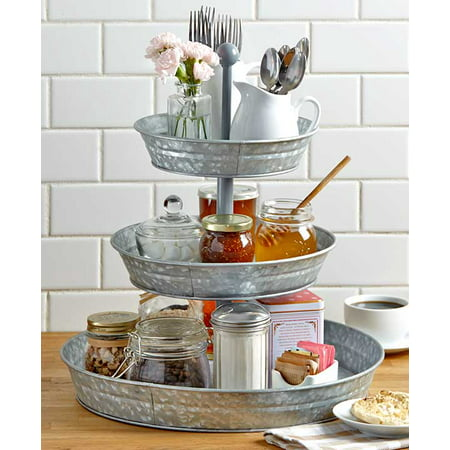 3-Tier Rustic Serving Tray - Galvanized Metal Kitchen Stand with Farmhouse - Round Metal Tray