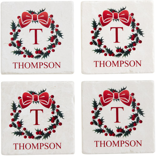 Personalized Holiday Coasters, Wreath