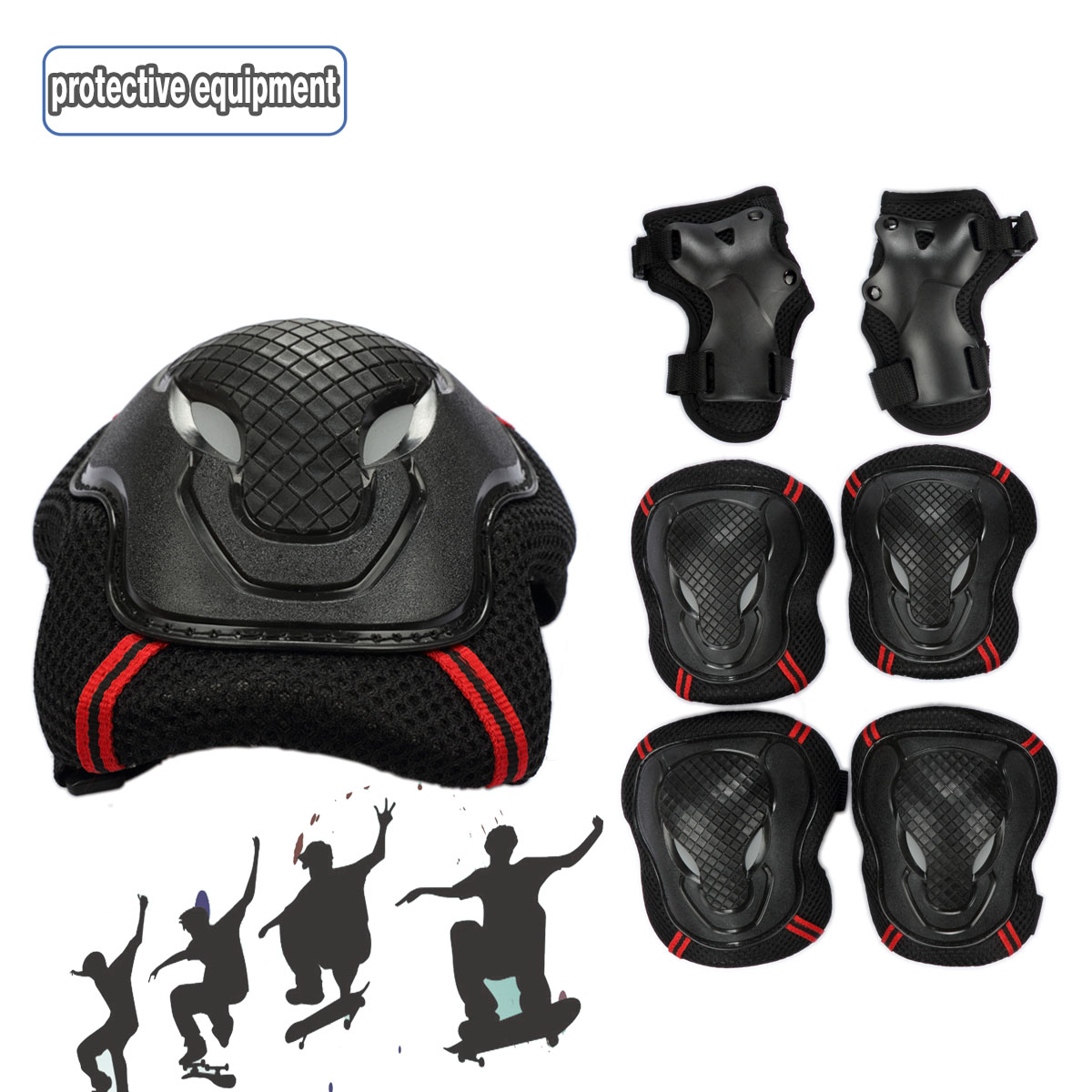 Bestmall 6Pcs Knee + Elbow Wrist Protective Pads Sets Protector Guard Pad Safety Gear for Roller Skating Skateboard... by Besmall