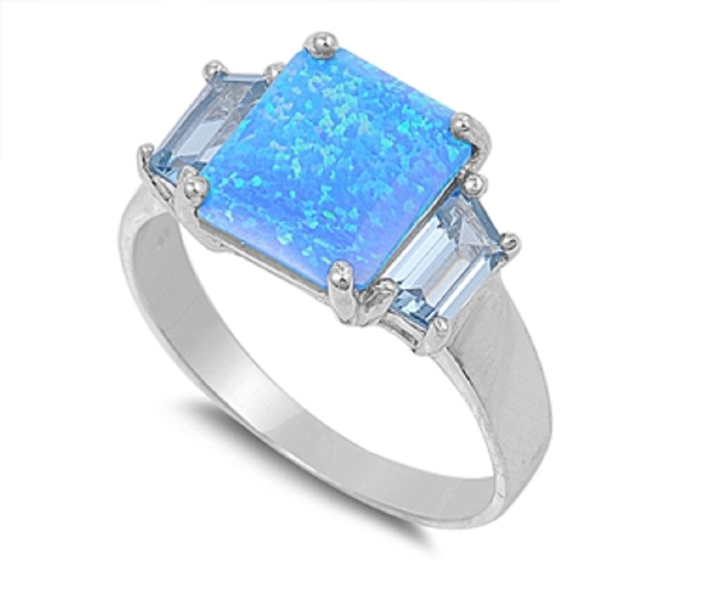 Princess Cut Center Blue Simulated Opal Ring Sterling Silver by