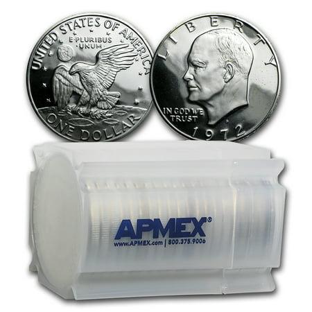 Silver Dollar Gem Proof (1972-S 40% Silver Eisenhower Dollars 20-Coin Roll Gem Proof)