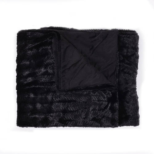 """Decorative Reversible Faux Fur and Mink Throw Blanket 50"""" x 60"""" Rib Pattern"""