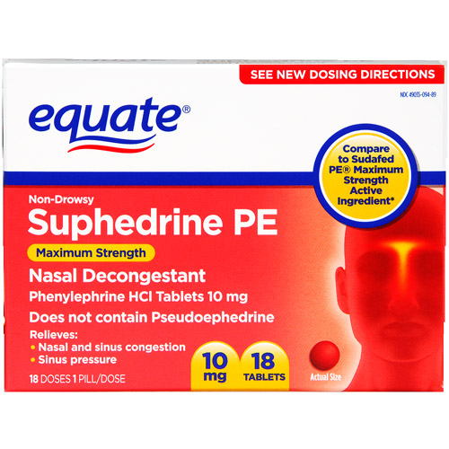 Equate Non-Drowsy Suphedrine PE, 18ct