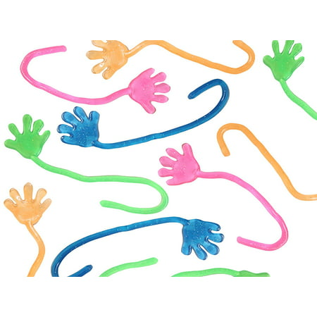 72 Sticky Hands - Mini Glitter for Party Favors, Goodie Bags, Treasure Chests or Halloween Prizes - Party Food Halloween