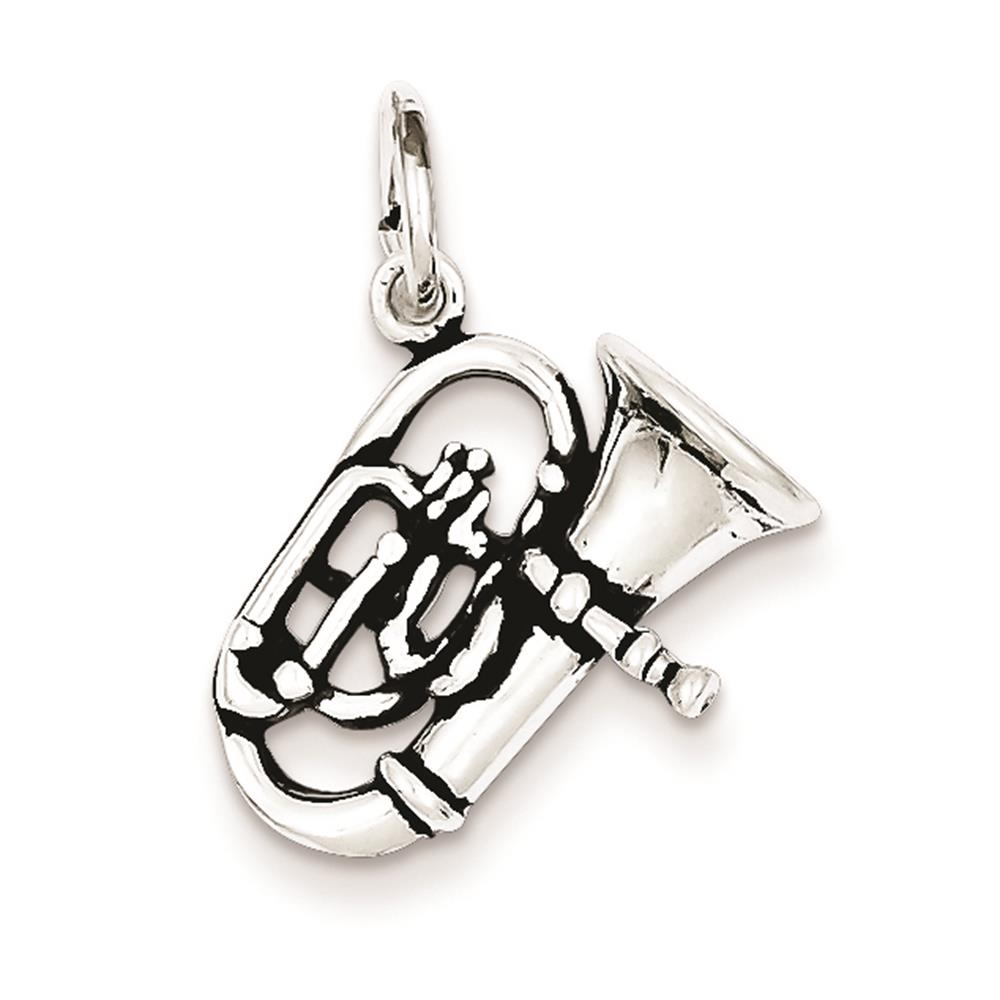 925 Sterling Silver Antiqued 3-D Alto Horn Polished 17mm x 17mm Charm Pendant