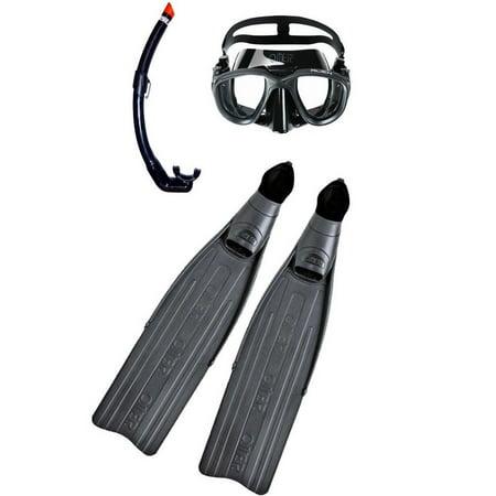 Omer Unisex Adult Pelagic Longfin Mask Snorkel Combo