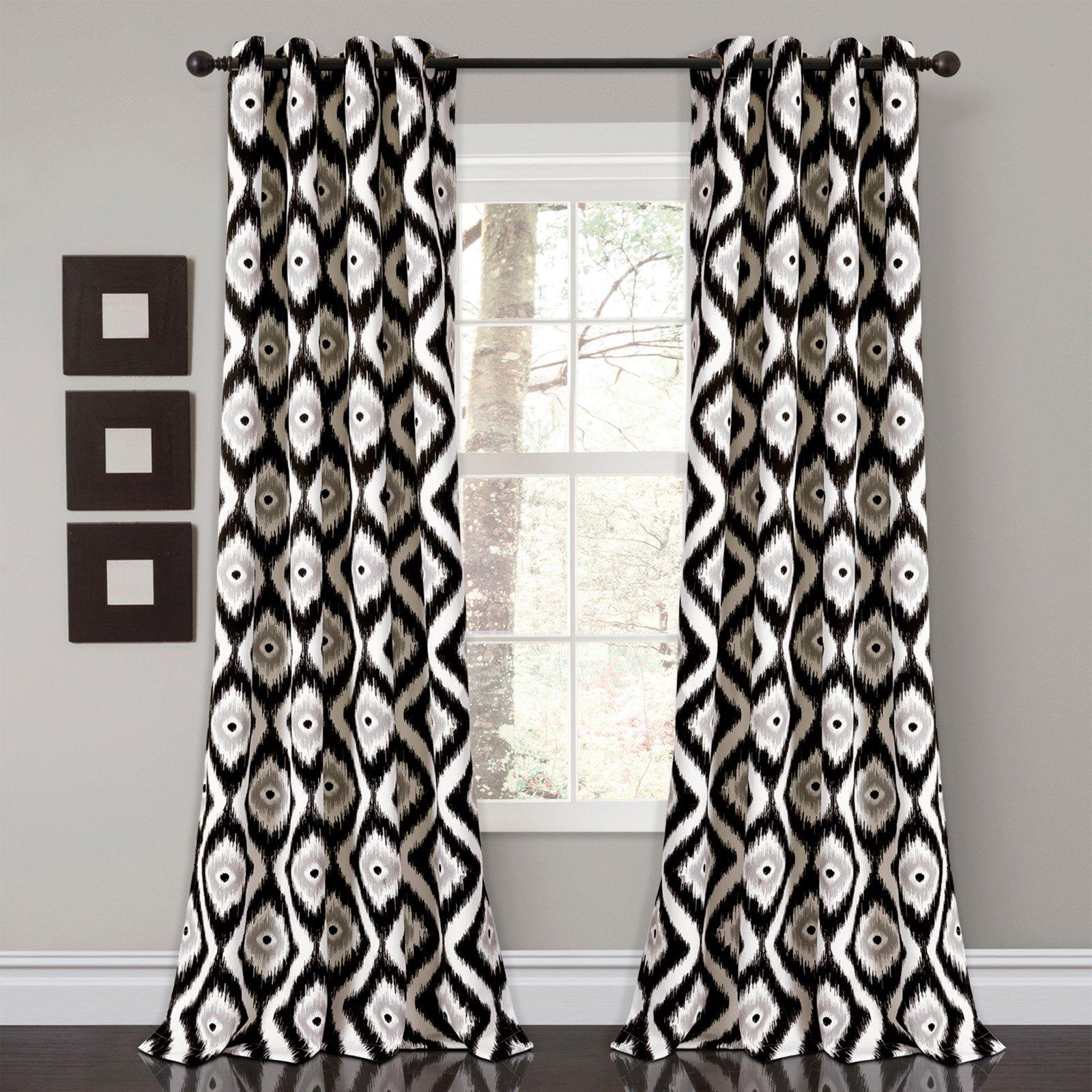 Diamond Ikat Room Darkening Window Curtain Set
