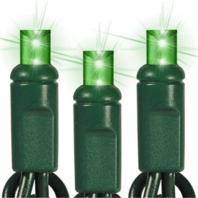 Queens of Christmas S-35MMGR-4G 5mm Conical Green Polka-dot LED Lights with 4 inch Spacing and Green Wire
