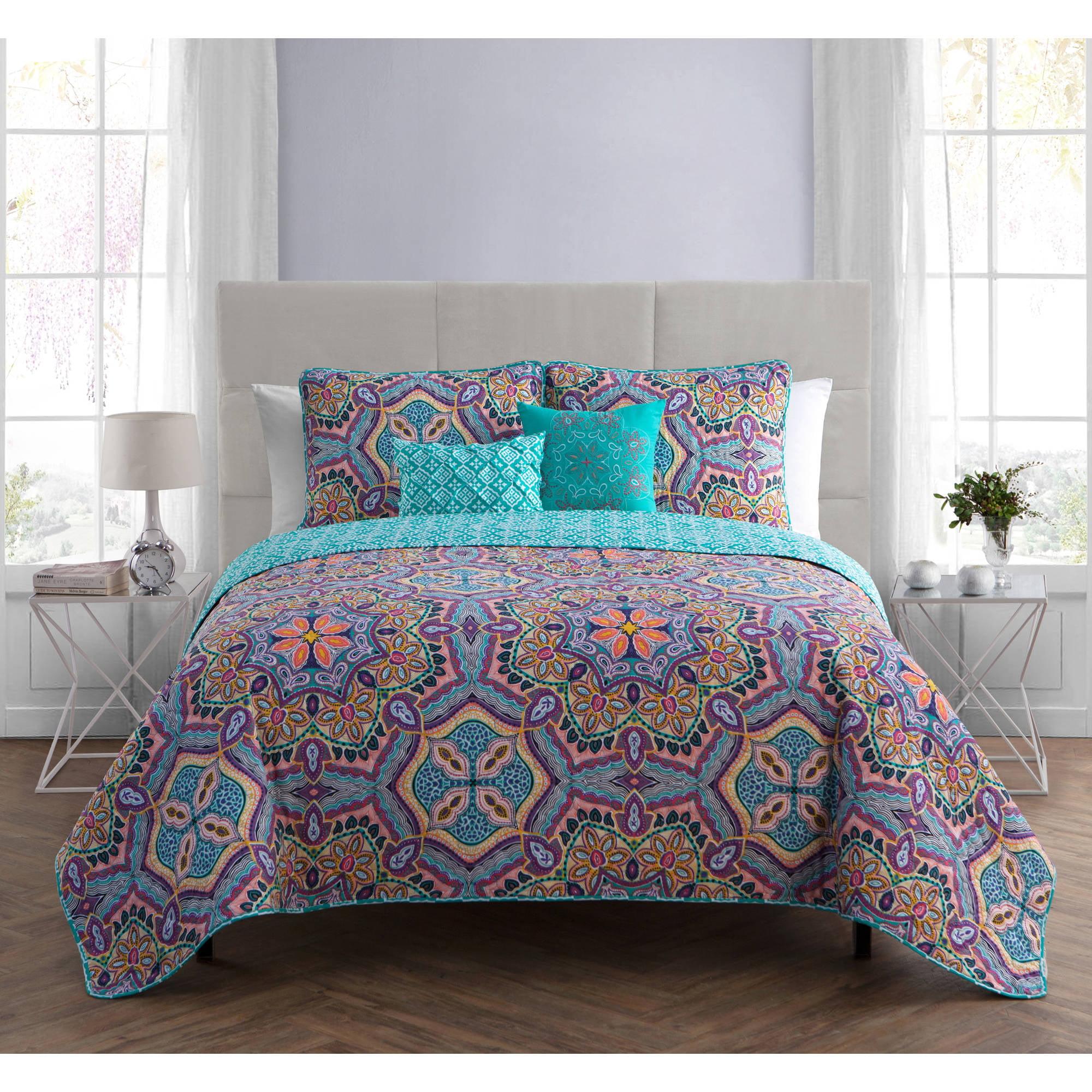 VCNY Home Yara Geometric Medallion 4/5-Piece Reversible Bedding Quilt Set, Multiple Sizes