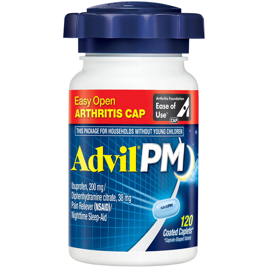 Advil PM Easy Open Cap (120 Count) Pain Reliever / Nighttime Sleep Aid Caplet, 200mg Ibuprofen, 38mg Diphenhydramine