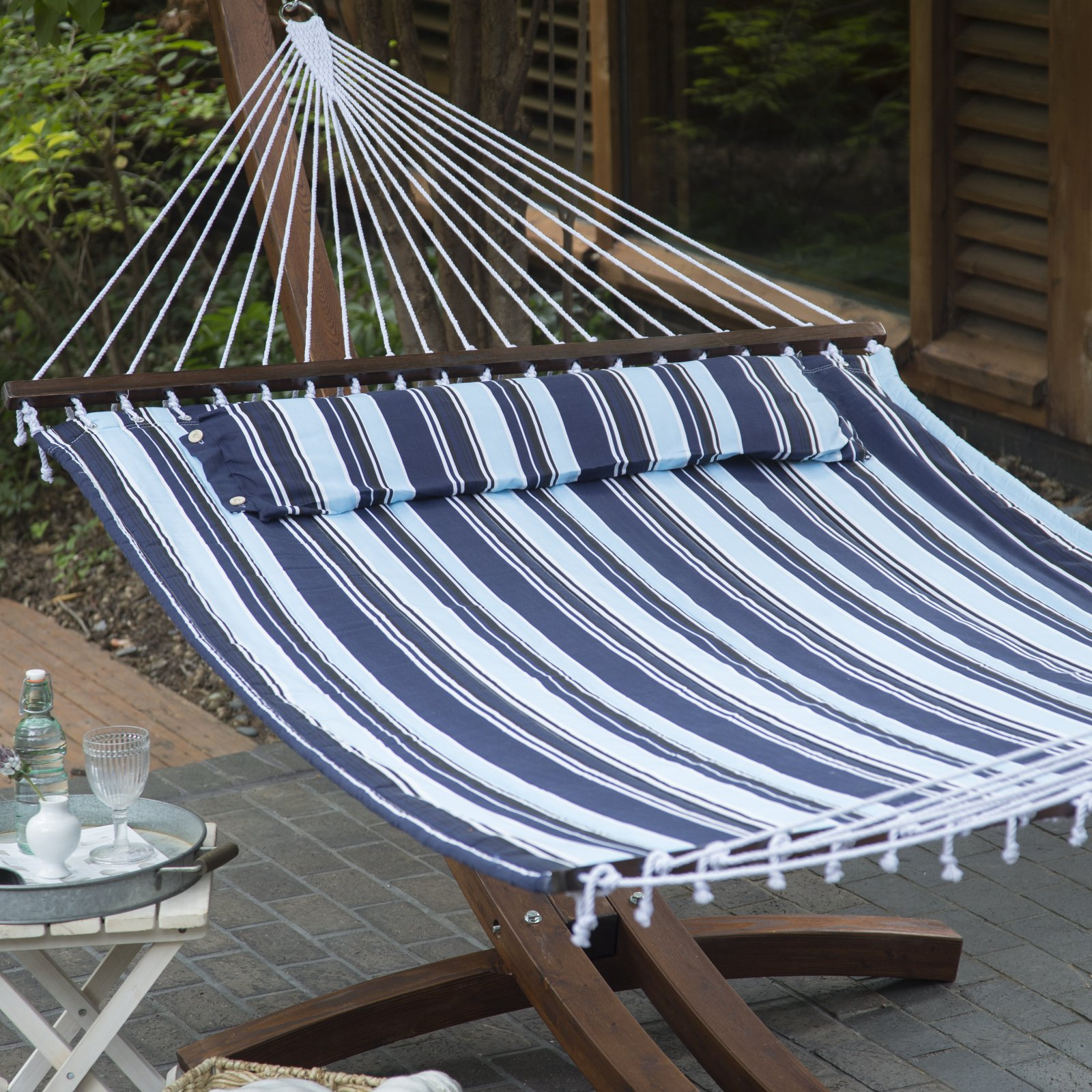 Island Bay 13 ft. Nautical Quilted Hammock with Stand