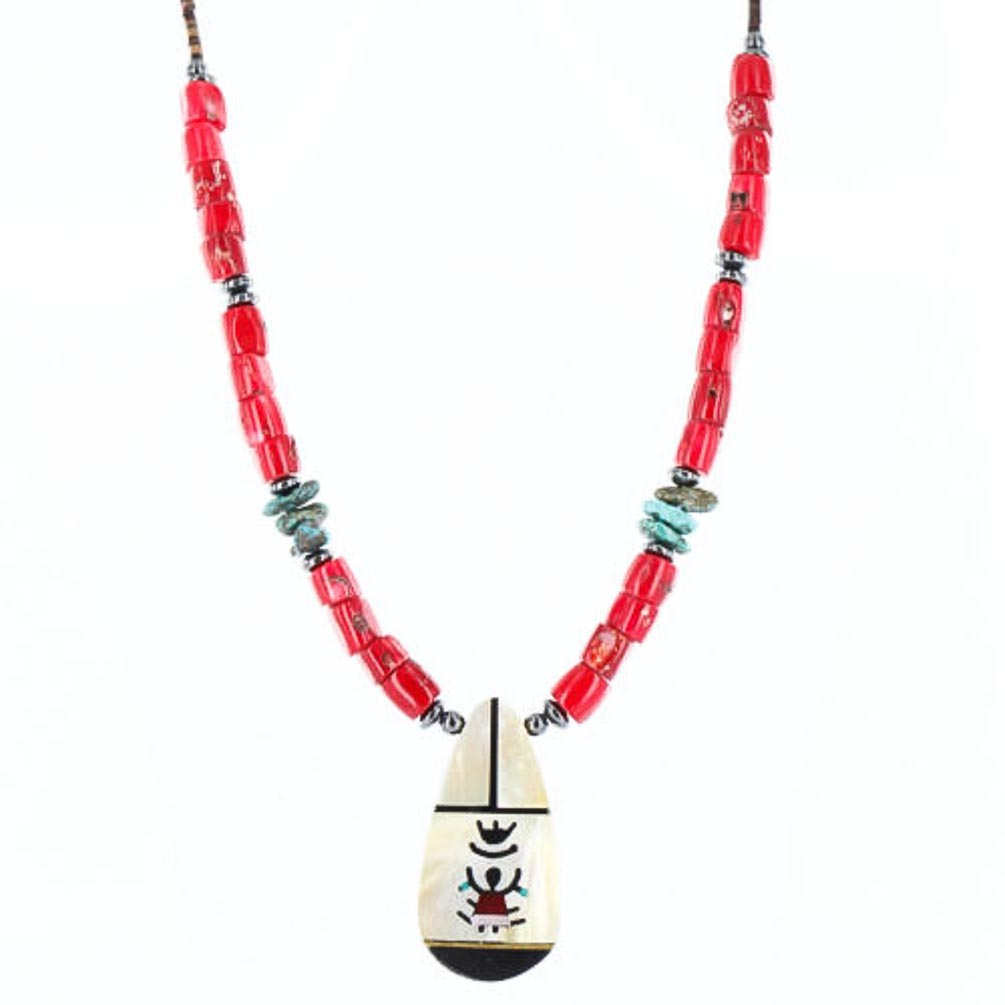 Large $270 Retail Tag Inlaid KachinaAuthentic Made by Charlene Little Navajo .925 Sterling Silver Coral Turquoise Native American Necklace