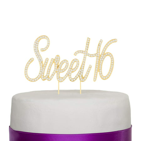 Sweet 16 Cake Topper Crystal Rhinestone 16th Birthday Party Gold Decoration (