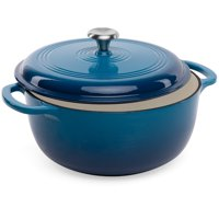 Best Choice Products 6qt Non-Stick Enamel Cast-Iron Dutch Oven for Baking, Braising, Roasting w/ Side Handles - Blue