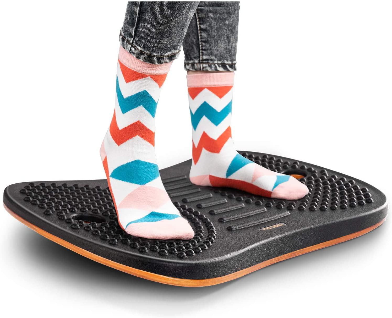 Standing Desk Anti Fatigue Mat FEZIBO Wooden Wobble Balance Board Stability Rocker with Ergonomic Design Comfort Floor Mat