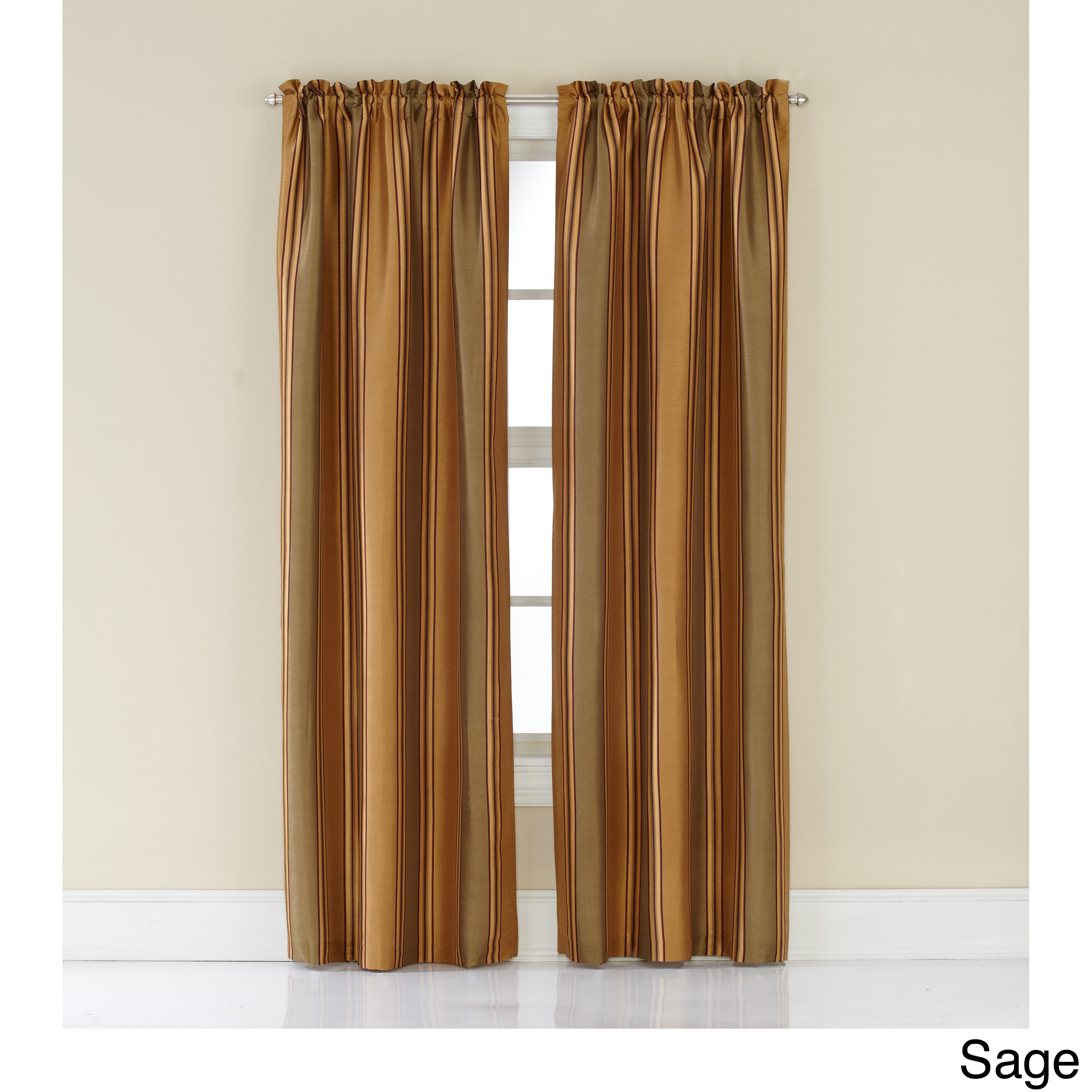 CHF Industries Faux Silk Stripe Rod Pocket 84-inch Curtain Panel Pair