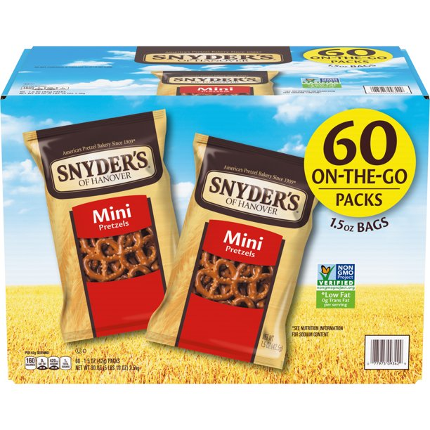 Snyder's Mini Pretzels, Individual Packs, 1.5 Ounce (60 Count)