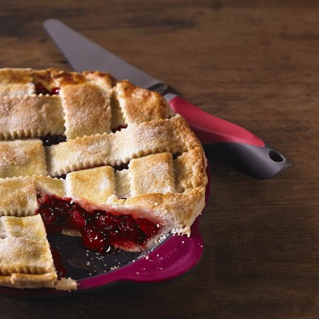 Pink Pie Server - Trudeau Maison Pie Server W/Serrated Edge-Pink/Grey