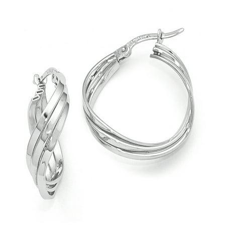 Polished Triple Twisted Hoop Earrings in 14K White Gold, (Triple Twist Earrings)