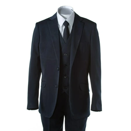 Lined Two Button Suit - Boys Navy Blue Slim Fit Suit 2 Button 5 Piece by Fouger