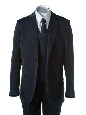 Boys Navy Blue Slim Fit Suit 2 Button 5 Piece by Fouger