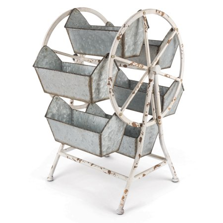 21.65-Inch, Metallic Ferris Wheel Organizer with 6 Spinning Buckets on Spinning - Small Metal Buckets
