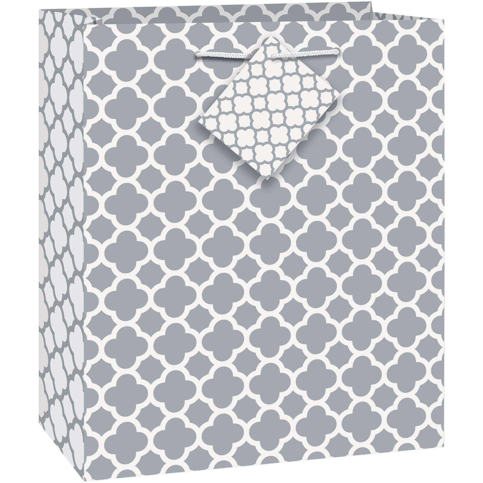 Silver Quatrefoil Gift Bag