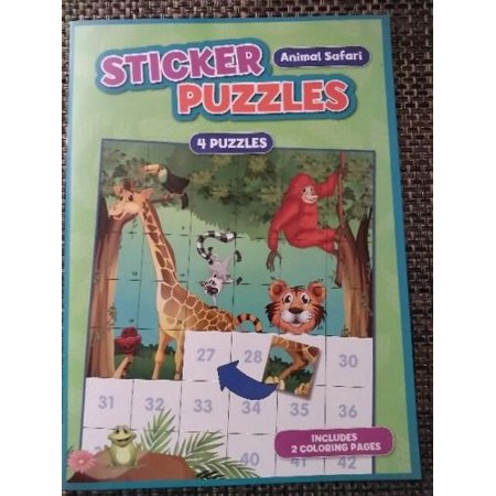 Stickers Puzzles Animal Safari 4 Puzzles 2 Coloring Pages Boys Girls 3